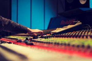 Man at mixing board