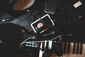 Music recording equipment on a desk